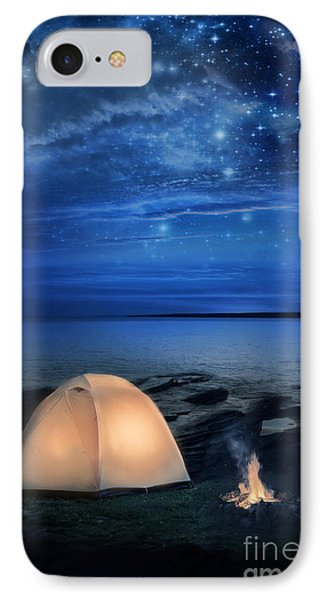 Camping Tent By The Lake At Night Phone Case by Jill Battaglia