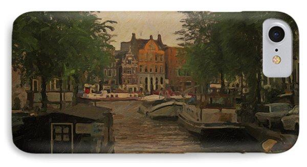 Canal In Amsterdam IPhone Case by Nop Briex