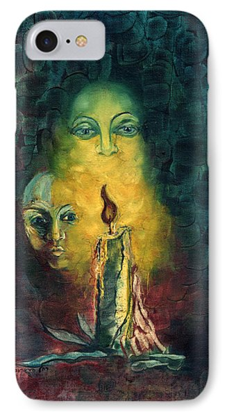 Candle Light Mother Child Faces In Yellow Candle Light Blue Red Background  IPhone Case