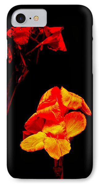 Canna Lilies On Black Phone Case by Mother Nature