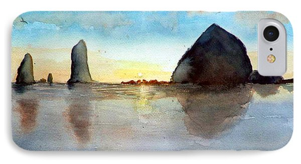 IPhone Case featuring the painting Cannon Beach Sunset by Chriss Pagani