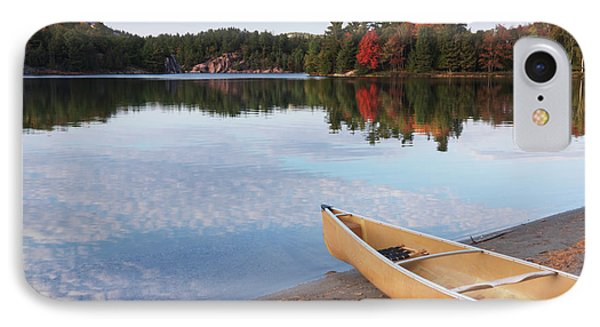 Canoe On A Shore Autumn Nature Scenery Phone Case by Oleksiy Maksymenko