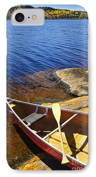 Canoe On Shore IPhone Case by Elena Elisseeva