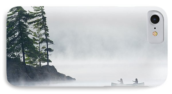 Canoeing Through Fog On Lake Of Two Phone Case by Mike Grandmailson