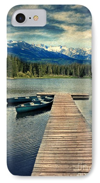 Canoes At Dock On Mountain Lake Phone Case by Jill Battaglia
