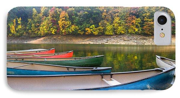 Canoes At Fontana Phone Case by Debra and Dave Vanderlaan