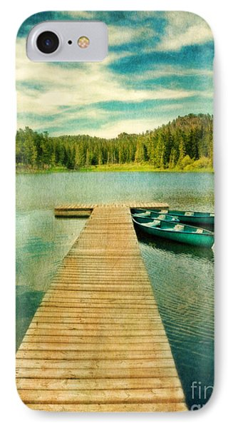 Canoes At The End Of The Dock Phone Case by Jill Battaglia