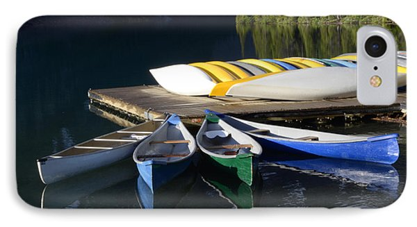 Canoes Morraine Lake 2 Phone Case by Bob Christopher