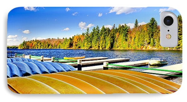 Canoes On Autumn Lake Phone Case by Elena Elisseeva