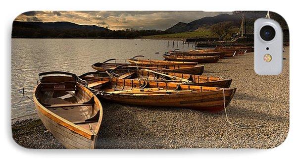 Canoes On The Shore, Keswick, Cumbria Phone Case by John Short