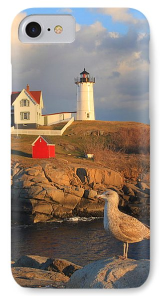 Cape Neddick Nubble Lighthouse And Seagull IPhone Case by John Burk