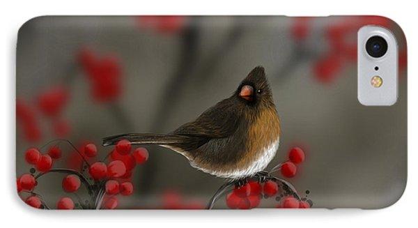 Cardinal Among The Berries IPhone Case