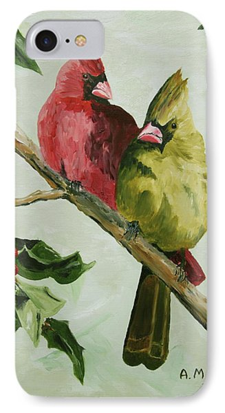 Cardinals With Holly IPhone Case by Alan Mager