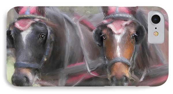 Carriage Horses Pleasure Pair Phone Case by Connie Moses