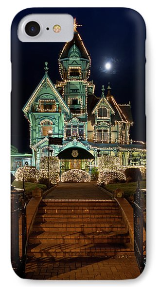 Carson Mansion At Christmas With Moon Phone Case by Greg Nyquist