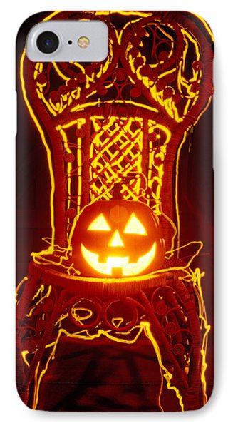 Carved Smiling Pumpkin On Chair Phone Case by Garry Gay