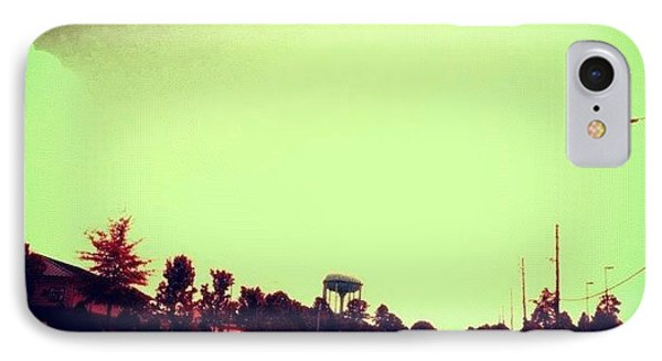 #cary #driving #sky #red #watertower IPhone Case by Katie Williams