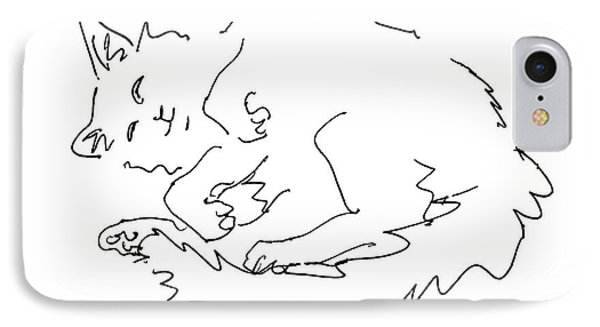 Cat-drawings-black-white-1 Phone Case by Gordon Punt