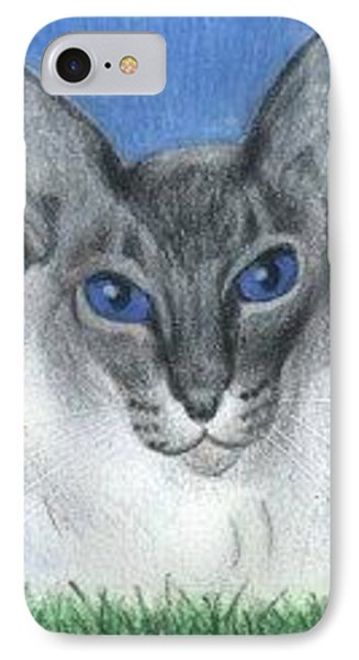 IPhone Case featuring the drawing Cat In Grass - Aceo by Ana Tirolese