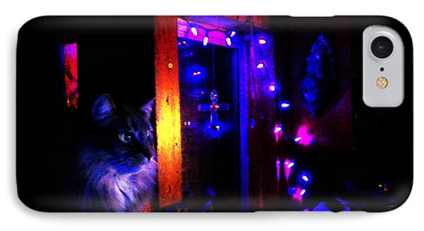 IPhone Case featuring the photograph Cat In The Night Kitchen by Susanne Still