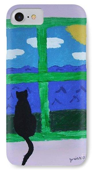 Cat In Window Phone Case by Jeannie Atwater Jordan Allen