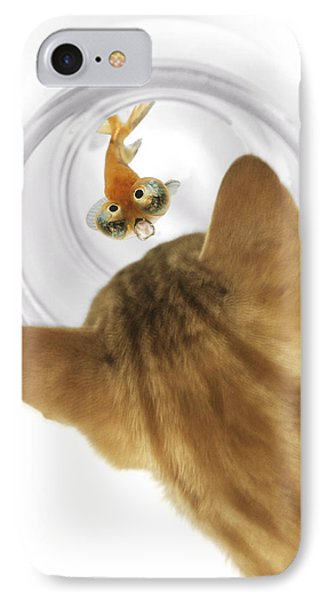 Cat Peering Into Fishbowl Phone Case by Darwin Wiggett