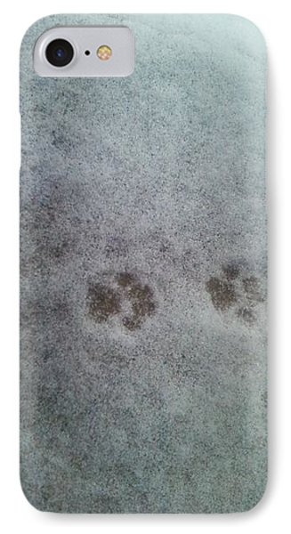 IPhone Case featuring the photograph Cat Tracks In The Snow by Gerald Strine