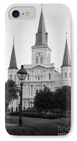Cathedral And Lampost On Jackson Square In The French Quarter New Orleans Black And White IPhone Case by Shawn O'Brien