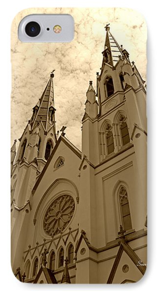 Cathedral Of St John The Baptist In Sepia Phone Case by Suzanne Gaff