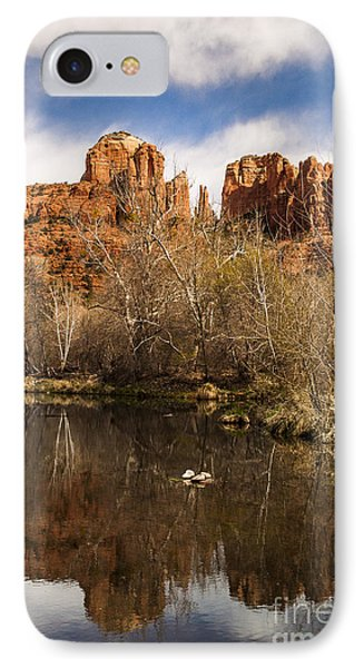 Cathedral Rock Reflections Portrait 1 Phone Case by Darcy Michaelchuk