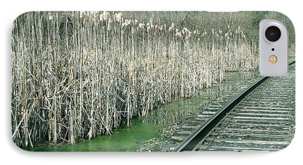 Cattails By The Tracks IPhone Case by Sandy McIntire