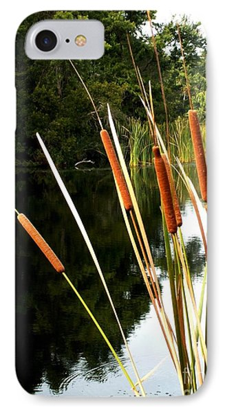 Cattails On The River Bank IPhone Case by Theresa Willingham