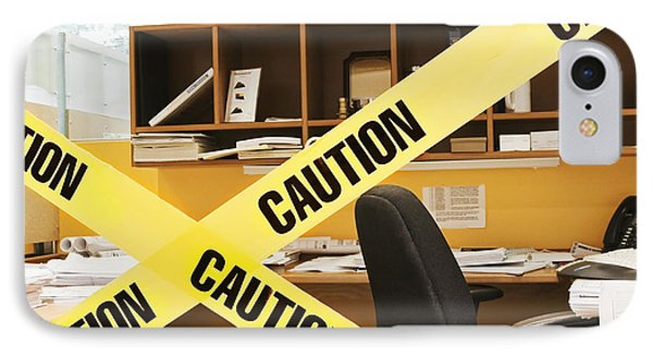 Caution Tape Blocking A Cubicle Entrance Phone Case by Jetta Productions, Inc