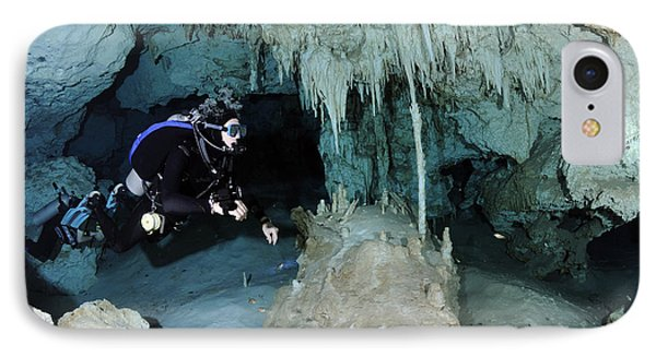 Cavern Diver In Dos Ojos Cenote System Phone Case by Karen Doody
