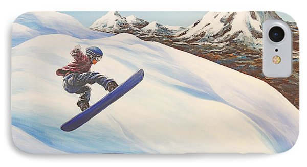 Central Oregon Snowboarding Phone Case by Janice Smith