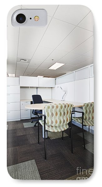 Chairs And Desk In Office Cubicle Phone Case by Jetta Productions, Inc