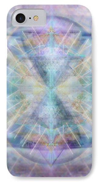 IPhone Case featuring the digital art Chalice Of Vorticspheres Of Color Shining Forth Over Tapestry by Christopher Pringer