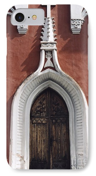 IPhone Case featuring the photograph Chapel Entrance In White And Brick Red by Agnieszka Kubica