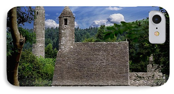 Chapel Of Saint Kevin At Glendalough Phone Case by The Irish Image Collection