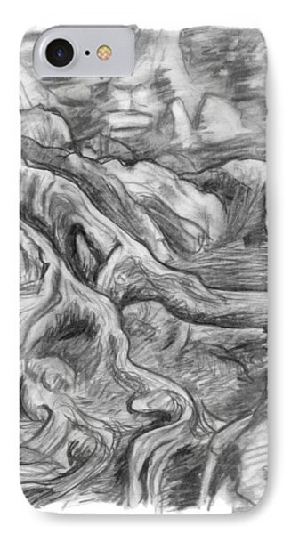 Charcoal Drawing Of Gnarled Pine Tree Roots In Swampy Area Phone Case by Adam Long