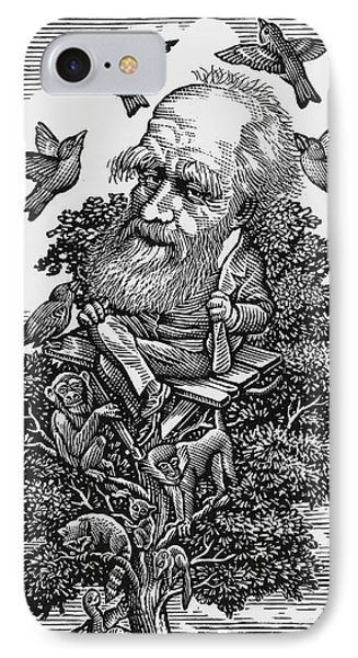 Charles Darwin In His Evolutionary Tree Phone Case by Bill Sanderson