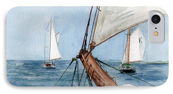 IPhone Case featuring the painting Chasing The North Wind by Nancy Patterson