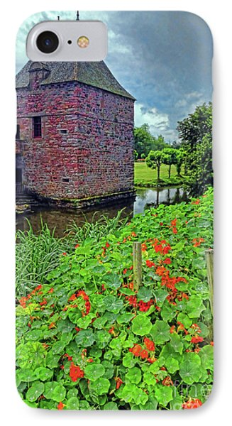IPhone Case featuring the photograph Chateau Tower And Nasturtiums by Dave Mills