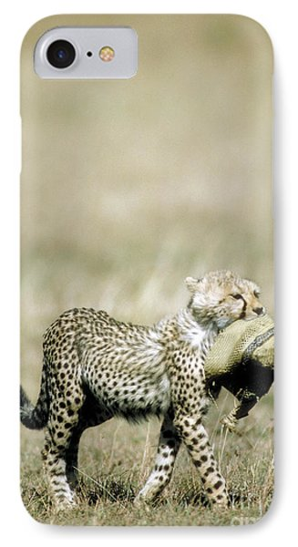 Cheetah Cub With Hat Phone Case by Greg Dimijian