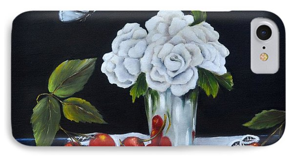 IPhone Case featuring the painting Cherries And Roses by Carol Sweetwood