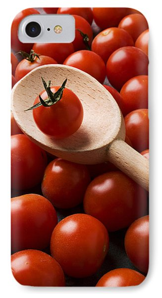 Cherry Tomatoes And Wooden Spoon Phone Case by Garry Gay