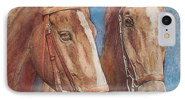 IPhone Case featuring the painting Chestnut Pals by Richard James Digance