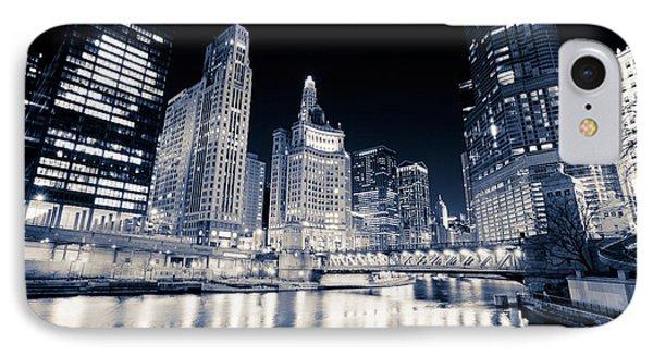 Chicago At Night At Michigan Avenue Bridge Phone Case by Paul Velgos