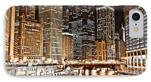 Chicago City Skyline At Night Phone Case by Paul Velgos