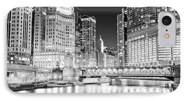 Chicago Cityscape At Night At Dusable Bridge Phone Case by Paul Velgos